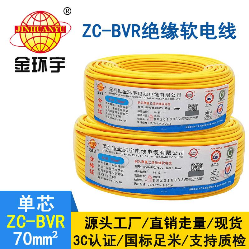 金环宇BVR70平方单芯电线 国标铜芯电线