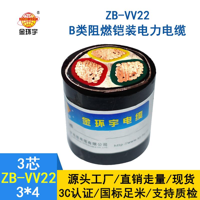 金环宇 vv22电力电缆 b级阻燃铠装电缆ZB-VV22-3*4平方